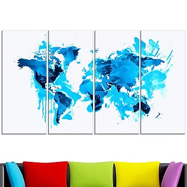 Blue Ice Map Metal Wall Art, 48x28, 4 Panels, (MT2717-271)