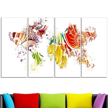 Colourful World Map Metal Wall Art, 48x28, 4 Panels, (MT2719-271)