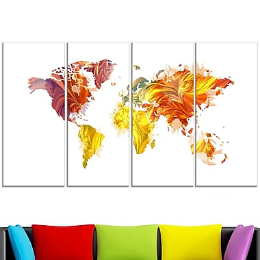 Warm Colours Map Metal Wall Art, 48x28, 4 Panels, (MT2720-271)