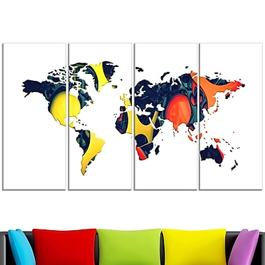 Orange and Yellow Geo World Map Metal Wall Art, 48x28, 4 Panels, (MT2722-271)