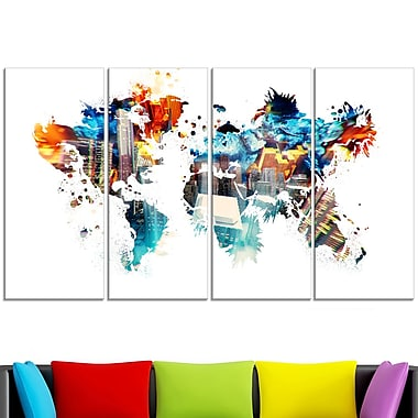 Colour My World Map Metal Wall Art, 48x28, 4 Panels, (MT2725-271)