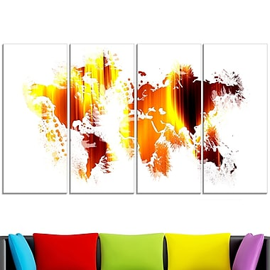 Flame World Map Metal Wall Art, 48x28, 4 Panels, (MT2729-271)