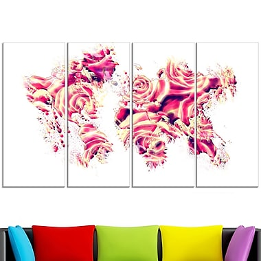 Roses of the World Map Metal Wall Art, 48x28, 4 Panels, (MT2731-271)