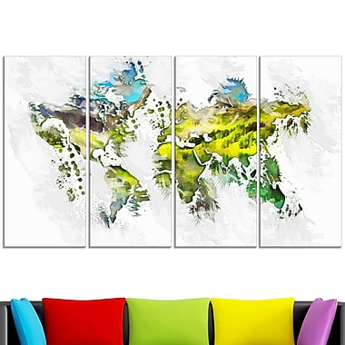 Natural World Map Metal Wall Art, 48x28, 4 Panels, (MT2732-271)