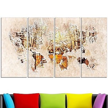 Neutral Colours Map Metal Wall Art, 48x28, 4 Panels, (MT2734-271)