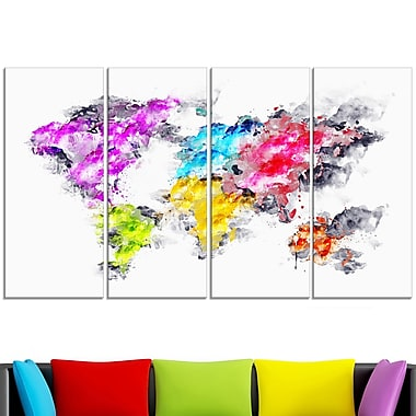 Colours of the Rainbow Map Metal Wall Art, 48x28, 4 Panels, (MT2737-271)