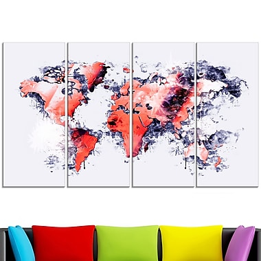 Red and Grey Map Metal Wall Art