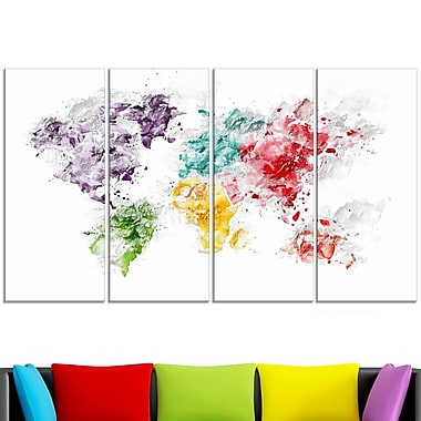 Colour Splash World Map Metal Wall Art, 48x28, 4 Panels, (MT2739-271)