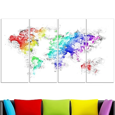 Bright World Map Metal Wall Art