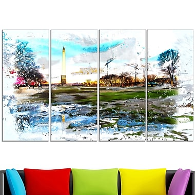 Abstract Washington Monument Metal Wall Art, 48x28, 4 Panels, (MT2803-271)
