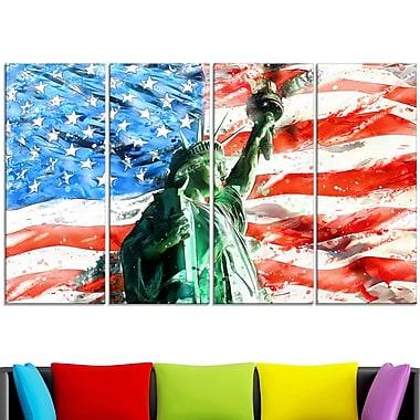 Lady Liberty sur le drapeau américain art mural en métal, 48 x 28, 4 panneaux (MT2805-271)