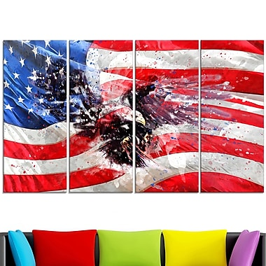 American Eagle and Flag Metal Wall Art, 48x28, 4 Panels, (MT2807-271)