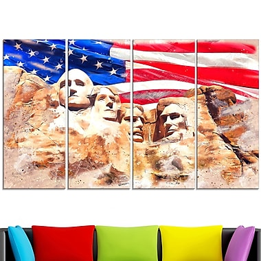 Mount Rushmore and US Flag Metal Wall Art, 48x28, 4 Panels, (MT2808-271)