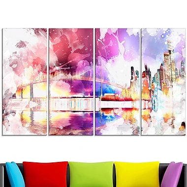 Magic Colourful City Night Metal Wall Art, 48x28, 4 Panels, (MT2815-271)