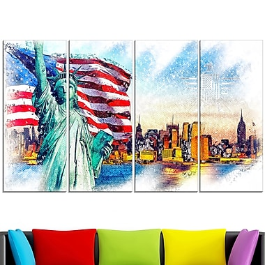 Colourfull Liberty Lady Metal Wall Art, 48x28, 4 Panels, (MT2823-271)