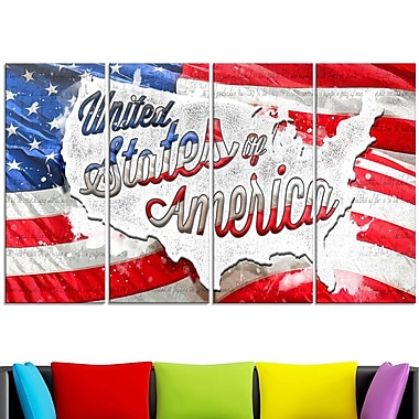 Abstract US Flag Metal Wall Art, 48x28, 4 Panels, (MT2824-271)
