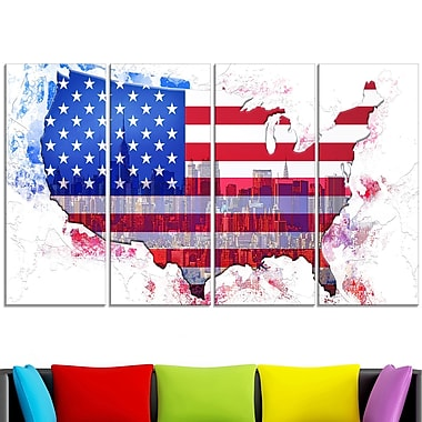 American City Map Metal Wall Art, 48x28, 4 Panels, (MT2829-271)