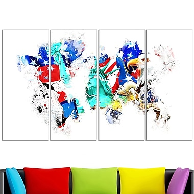 East to West Coast City On the Map' Metal Wall Art, 48x28, 4 Panels, (MT2831-271)