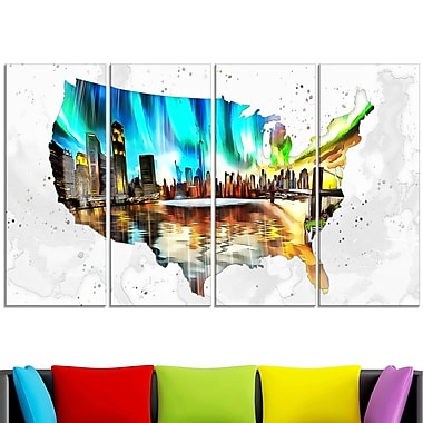 City Life on the Map' Metal Wall Art, 48x28, 4 Panels, (MT2832-271)
