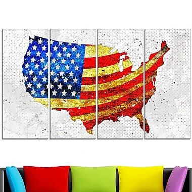 USA Flag on the Map' Metal Wall Art, 48x28, 4 Panels, (MT2834-271)