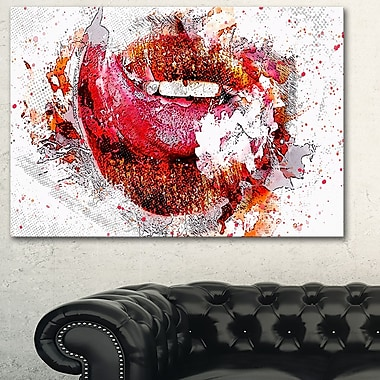 Orange and Red LipsSensual Metal Wall Art, 28x12, (MT2936-28-12)