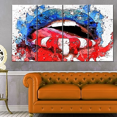 Red White and Blue LipsSensual, art mural en métal, 48 x 28, 4 panneaux (MT2939-271)
