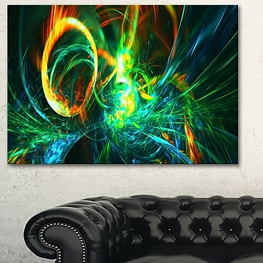 Fire Green Abstract Metal Wall Art, 28x12, (MT3025-28-12)
