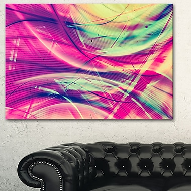 Pink and Yellow Vintage Abstract Metal Wall Art, 28x12, (MT3063-28-12)