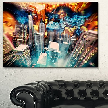 Abstract City at Sunrise Metal Wall Art, 28x12, (MT3065-28-12)