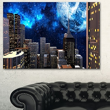 Abstract City at Night Metal Wall Art, 28x12, (MT3069-28-12)