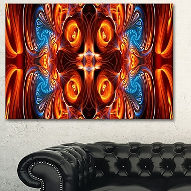 Orange and Blue Mirrored Metal Wall Art, 28x12, (MT3075-28-12)