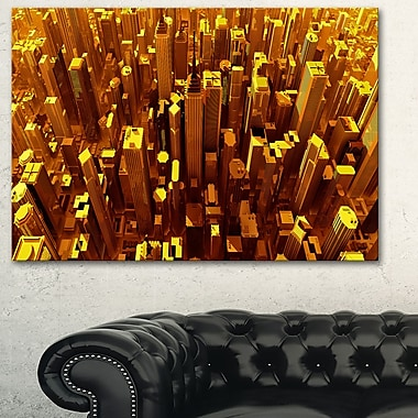 Golden City from the Sky Metal Wall Art, 28x12, (MT3077-28-12)