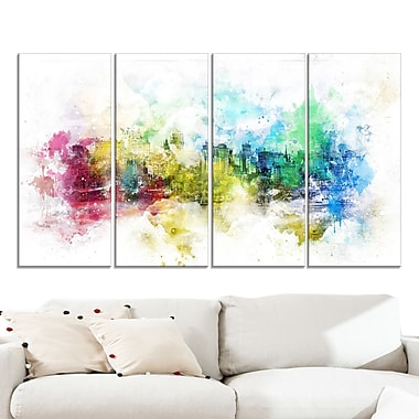 Vivid Colours Cityscape Large Metal Wall Art, 48x28, 4 Panels, (MT3302-271)