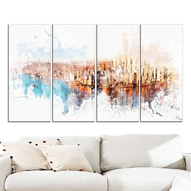Sunrise on the River Cityscape Large Metal Wall Art, 48x28, 4 Panels, (MT3303-271)