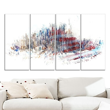 Red, White, and Blue Cityscape Large Metal Wall Art
