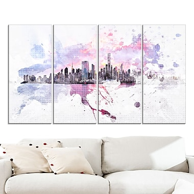 Sunset Splash Cityscape Large Metal Wall Art, 48x28, 4 Panels, (MT3305-271)
