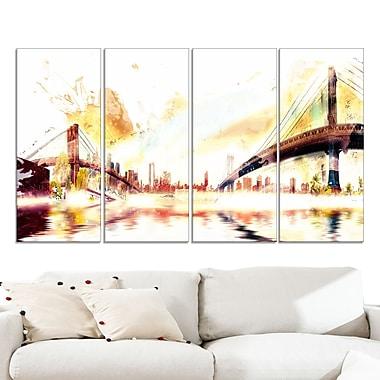 Grand art mural en métal, horizon urbain, ponts dorés, 48 x 28 po, 4 panneaux, (MT3306-271)