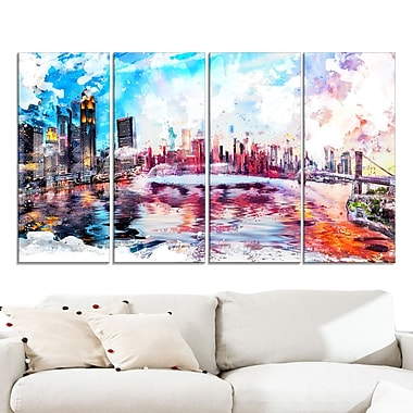 Vibrant New York Cityscape Large Metal Wall Art