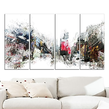 City Never Sleeps Cityscape Large Metal Wall Art, 48x28, 4 Panels, (MT3309-271)