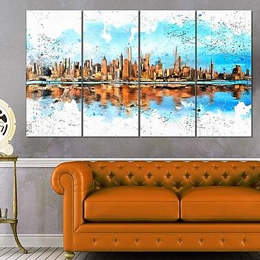 Grand art mural en métal, horizon urbain, ville d'Amérique, 48 x 28 po, 4 panneaux, (MT3311-271)