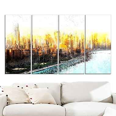 Abstract Sunset Cityscape Large Metal Wall Art, 48x28, 4 Panels, (MT3313-271)