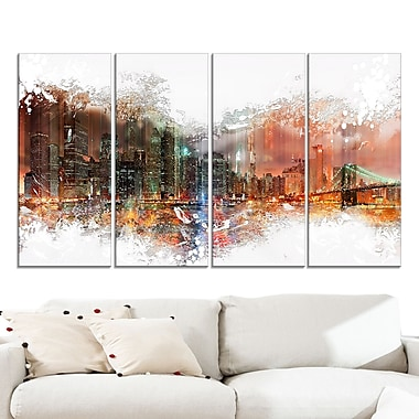 Abstract Night Cityscape Large Metal Wall Art, 48x28, 4 Panels, (MT3315-271)