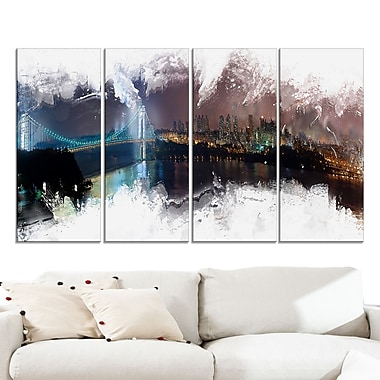 Bridge to the City Cityscape Large Metal Wall Art, 48x28, 4 Panels, (MT3316-271)