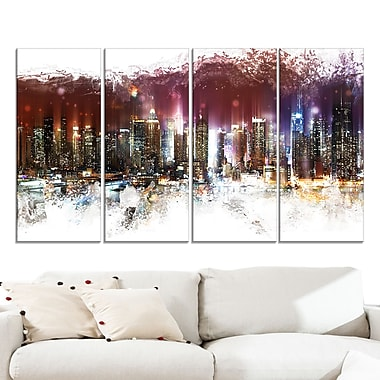 Nightlife Cityscape Large Metal Wall Art, 48x28, 4 Panels, (MT3317-271)