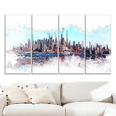 In the Bay Cityscape Large Metal Wall Art, 48x28, 4 Panels, (MT3319-271)