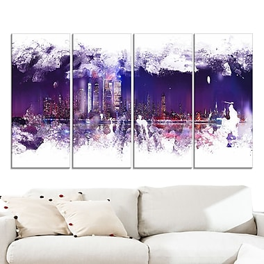 Abstract Purple Cityscape Large Metal Wall Art, 48x28, 4 Panels, (MT3320-271)