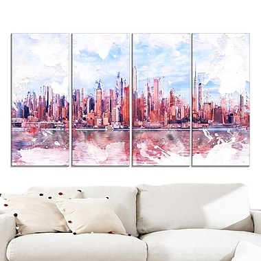 Pink Bay Cityscape Large Metal Wall Art, 48x28, 4 Panels, (MT3321-271)