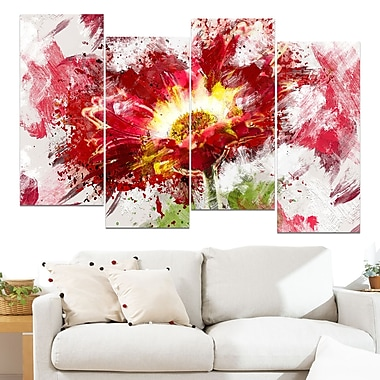 Red Abstract Sunflower Floral Metal Wall Art, 48x28, 4 Panels, (MT3400-271)