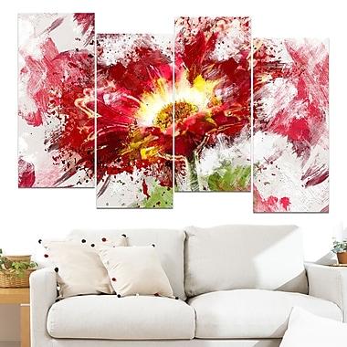 Art mural floral en métal, tournesol abstrait rouge, 48 x 28 po, 4 panneaux (MT3400-271)
