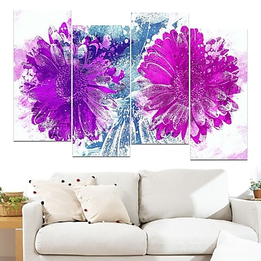 Pink and Purple Sunflowers Floral Metal Wall Art, 48x28, 4 Panels, (MT3401-1-271)